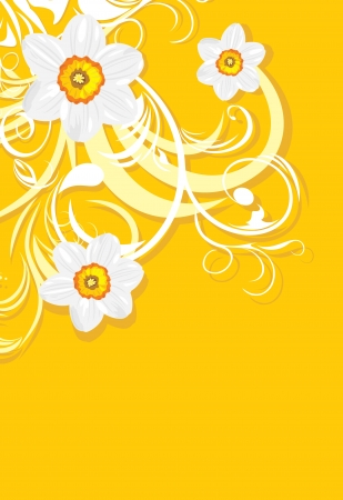 Ornamental background with daffodils Vector