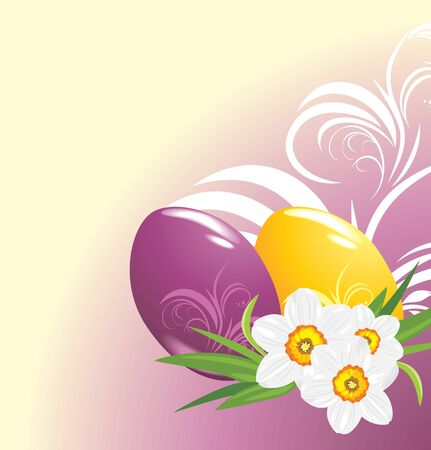 jonquil: Easter eggs and bouquet of daffodils