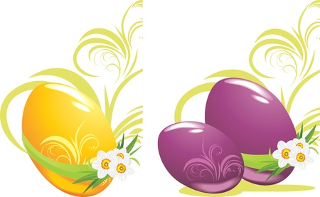 Easter eggs with daffodils