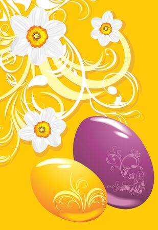 burgeon: Easter eggs on the ornamental background with daffodils