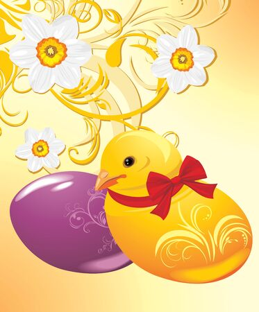 jonquil: Easter eggs and chick the ornamental background with daffodils
