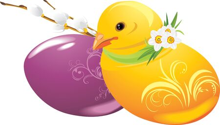 Easter eggs and chick Stock Vector - 12924881