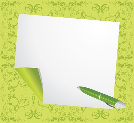Curled page and ballpen on the decorative green background Stock Vector - 13066586