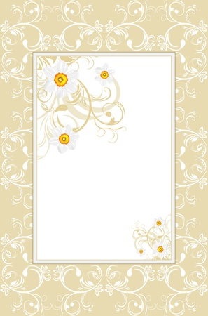 Ornamental frame with daffodils Vector