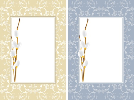 Ornamental frames with willow branches Vector