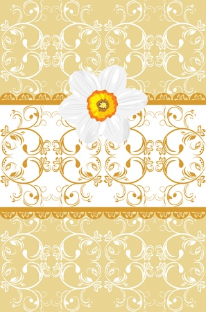 Ornamental background with daffodil Vector