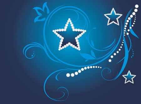 Dark blue decorative background with shining stars Vectores