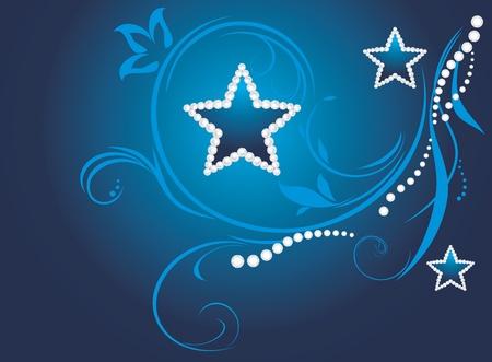 joyas de plata: Oscuro fondo azul decorativa con estrellas que brillan