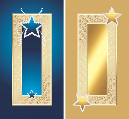 Two golden frames with shining stars Vector