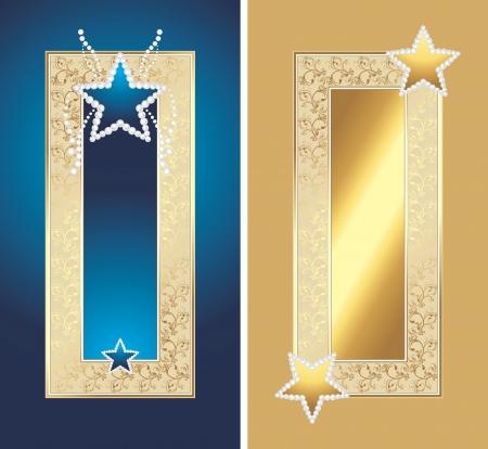 diamond clip art: Two golden frames with shining stars