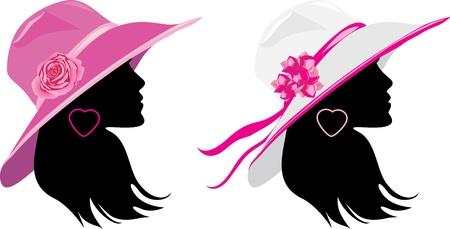 Two women in a elegant hats Illustration