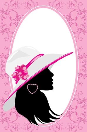 Portrait of elegant woman in a hat  Fashion card Vector