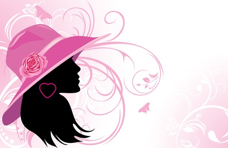 pink hat: Portrait of elegant woman in a hat. Fashion background