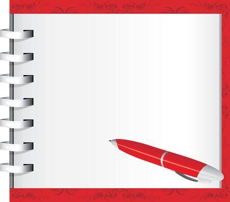 open notebook: Spiral notepad and red ballpen
