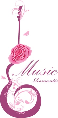 funky music: Abstract guitar with rose. Romantic music Illustration