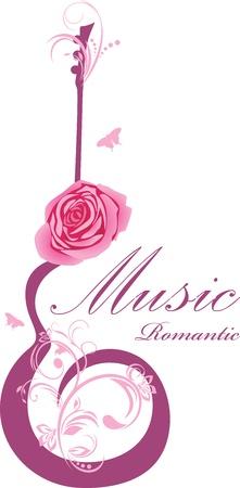 Resumen de guitarra con la rosa. Música romántica