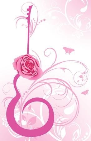 guitarra clásica: Resumen de guitarra con la rosa en el fondo decorativo Vectores