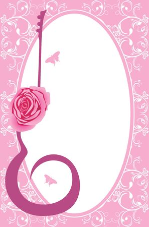 rose silhouette: Silhouette of guitar with rose in the decorative frame Illustration
