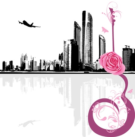 Abstract guitar with rose on the background of modern city