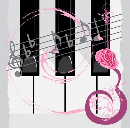 Piano keys, notes and abstract guitar with rose