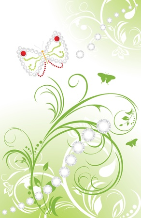 Spring ornamental background with shining strasses Vector