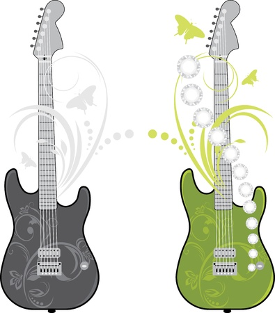 Two rock guitars isolated on the white Vector