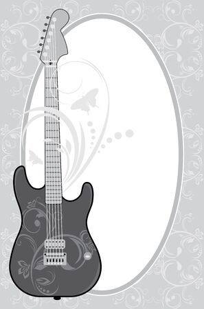 Guitar in the decorative frame Vector