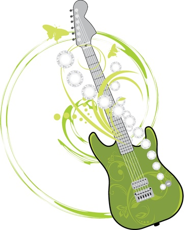 jazz guitar: Rock guitar isolated on the white