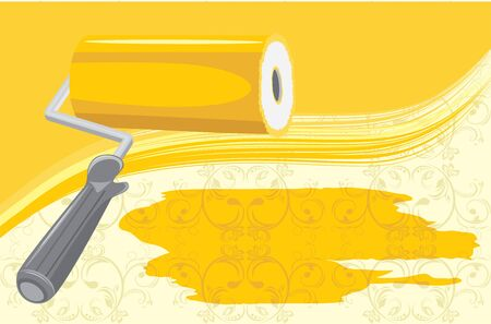 Roller brush on the decorative background Stock Vector - 13555287