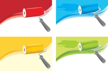 wallpapering: Roller brushes on the abstract background