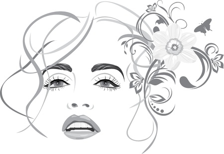 hair salon: Portrait of beautiful woman. Fashion hairstyle Illustration