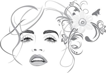Portret van mooie vrouw. Fashion kapsel Vector Illustratie