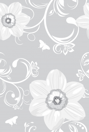 Decorative background with daffodils Vector