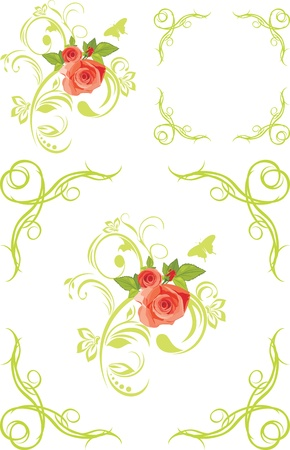 Decorative elements and frames with roses Stock Vector - 13718034