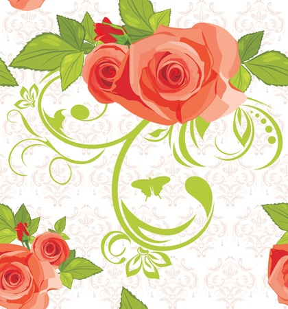 Ornamental background with roses. Pattern for fabric Stock Vector - 13718037