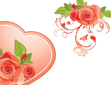 Decorative elements with roses to the Valentines day Vector