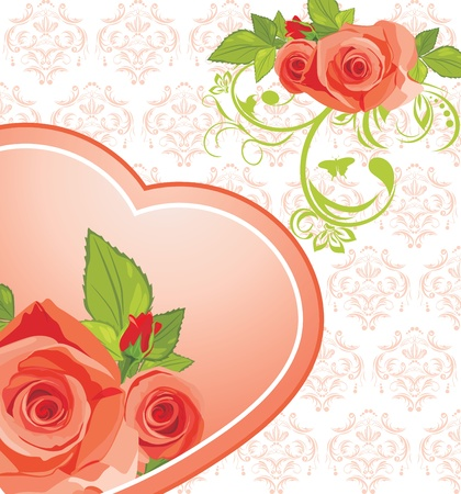 Heart with roses on the ornamental background Vector