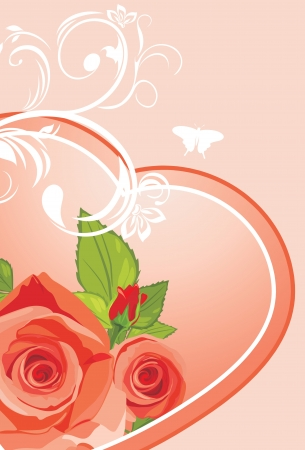 Heart with roses. Background to the Valentines day Vector