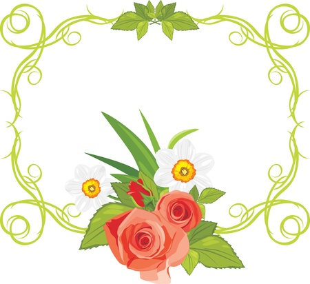 Ornamental frame with roses and daffodils Vector