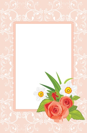 Decorative frame with roses and daffodils