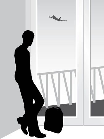 Silhouette of a traveler in anticipation of landing the airplane Vector
