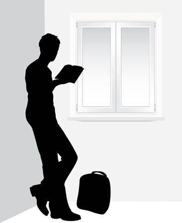 Man reading a book near the window Vector