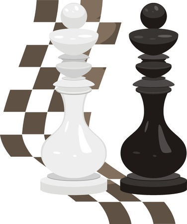 White and black king. Chess pieces Vector