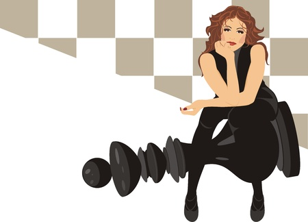 Beautiful woman sitting on the black king chess Vector
