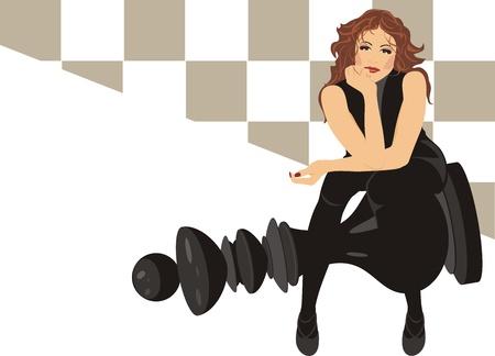 vaincu: Belle femme assise sur le jeu d'�checs roi noir