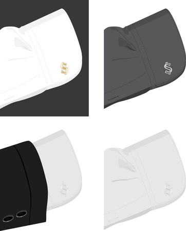 Cuff shirt with trendy cufflinks Vector