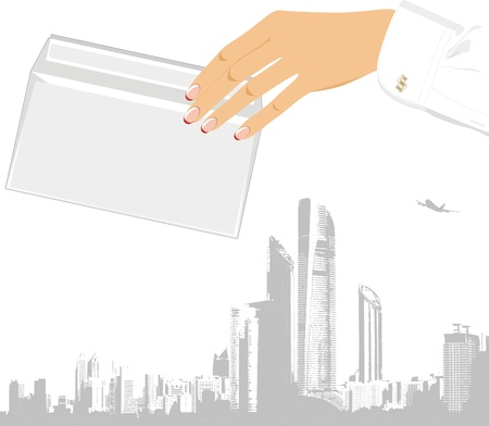 paper delivery person: Female hand with envelope  Business concept Illustration