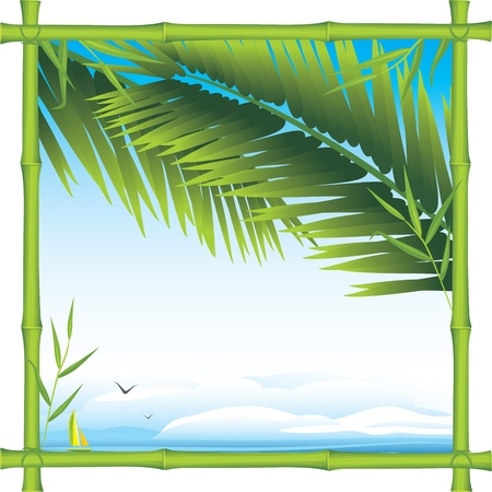 palm branch: Bamboo frame with palm branches and landscape
