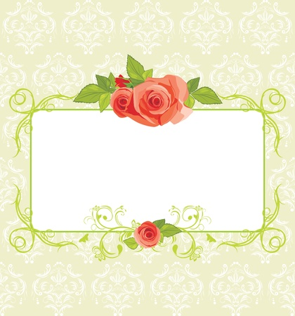 Frame with roses on the ornamental background Vector