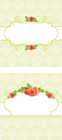 Frames with roses on the ornamental background Vector